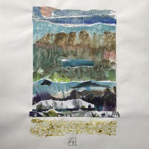 Abstract Landscape 'Between Heaven & Earth', mixed media collage on paper 45x62cm by Louise Hennigs
