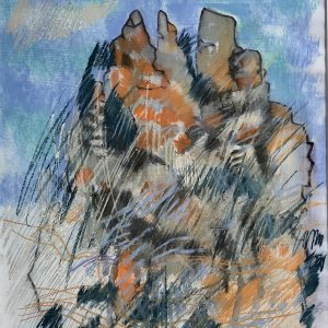 Abstract Painting 'Hoy's Koppie, Hermanus' Mixed media on paper 37x45cm by Louise Hennigs