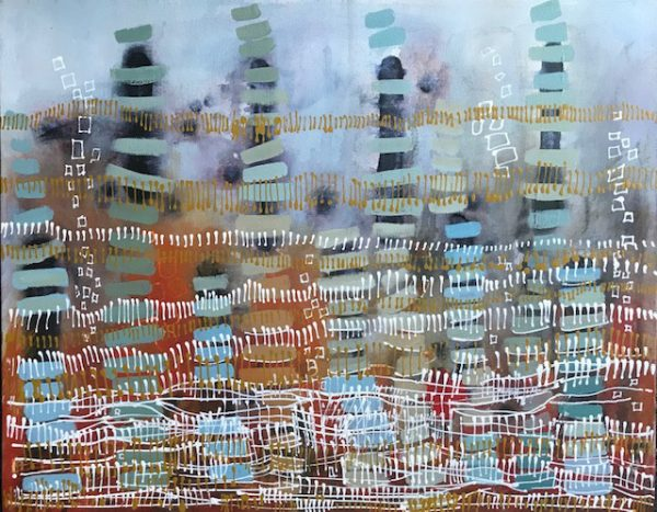 Abstract Painting 'Running Fence' acrylic on canvas 45x57cm by Louise Hennigs