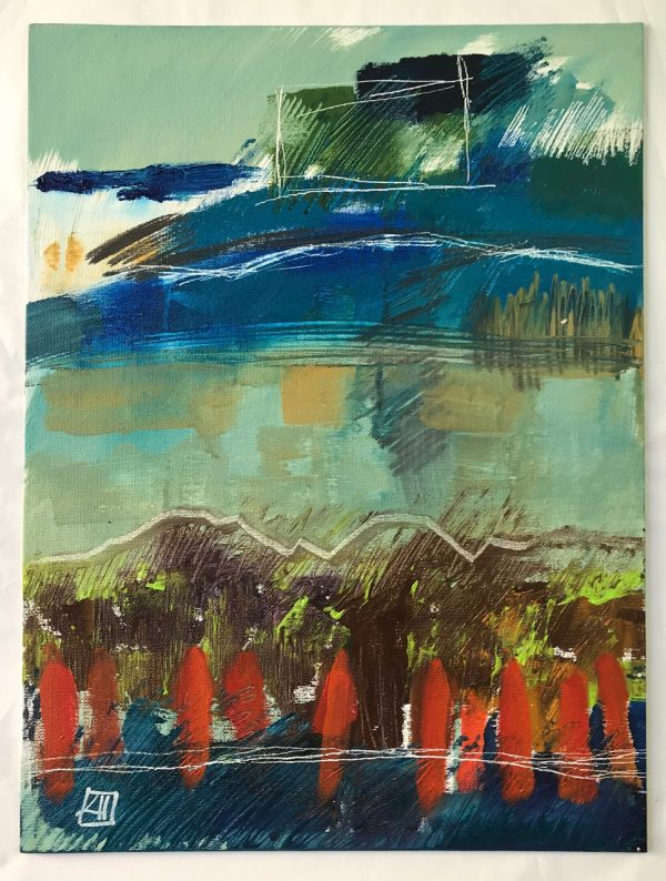 Abstract Painting 'The Deep' acrylic on board 44x54cm by Louise Hennigs