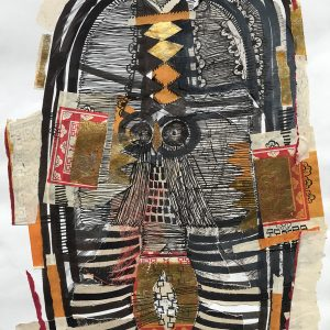 African 'Reliquary Guardian 1' mixed media and collage on paper 42x60cm by Louise Hennigs