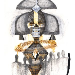 African 'Reliquary Guardian 2' mixed media and collage 56x77cm by Louise Hennigs
