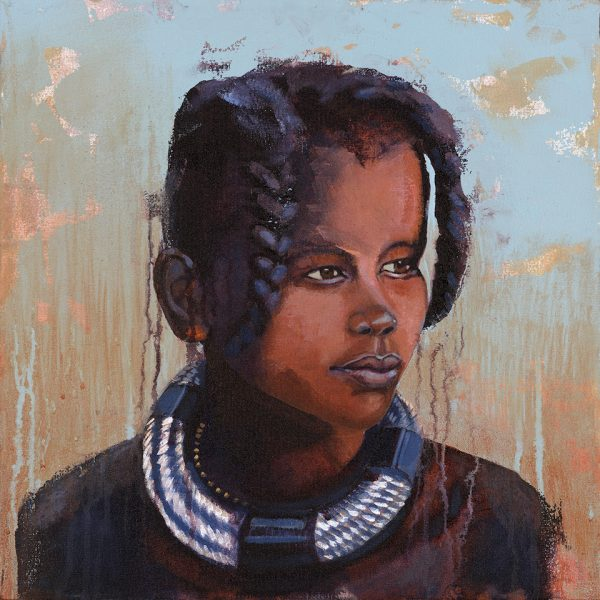 Faces of Africa- 'Himba Child' Acrylic on canvas 50X50cm by Louise Hennigs