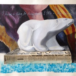 'I have a thing for Polar Bears', mixed media on paper 38 x 48cm by Louise Hennigs