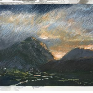 Landscape Nr 1 'Dawn' Acrylic and pastel on paper 25cm x 30cm by Louise Hennigs