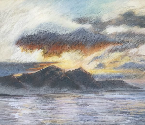 Landscape Nr 3 'Cloudy Sunrise over Walker Bay' Acrylic and pastel on paper 25cm x 30cm by Louise Hennigs