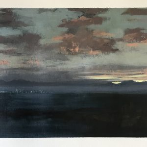 Landscape Nr 5 'Dawn Across the Bay' Acrylic on paper 25cm x 30cm by Louise Hennigs