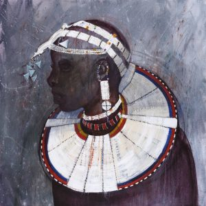 Faces of Africa-'Maasai Maiden' acrylic on canvas 80X80cm by Louise Hennigs