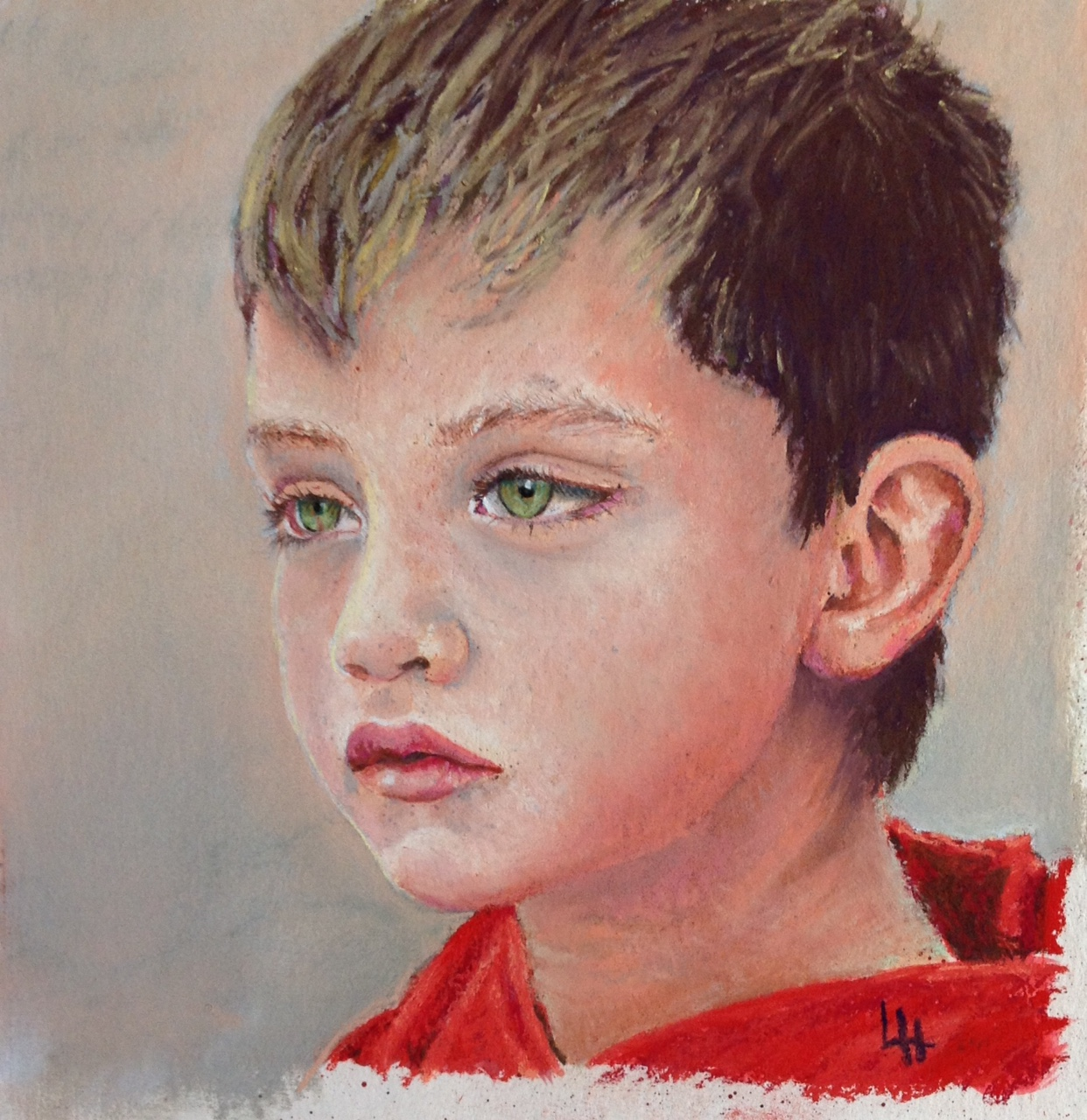 Pastel Portrait-'Fragility' pastel on paper 20x20cm by Louise Hennigs
