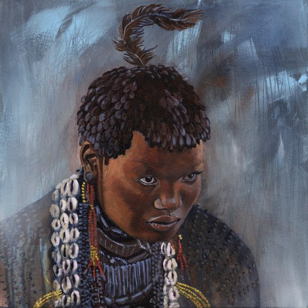 Faces of Africa-'Ritual Splendour' acrylic on canvas 50X50cm by Louise Hennigs