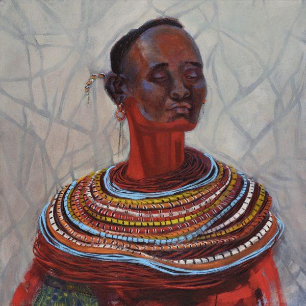 Faces of Africa-'Samburu Pride' acrylic on canvas 80X80cm by Louise Hennigs