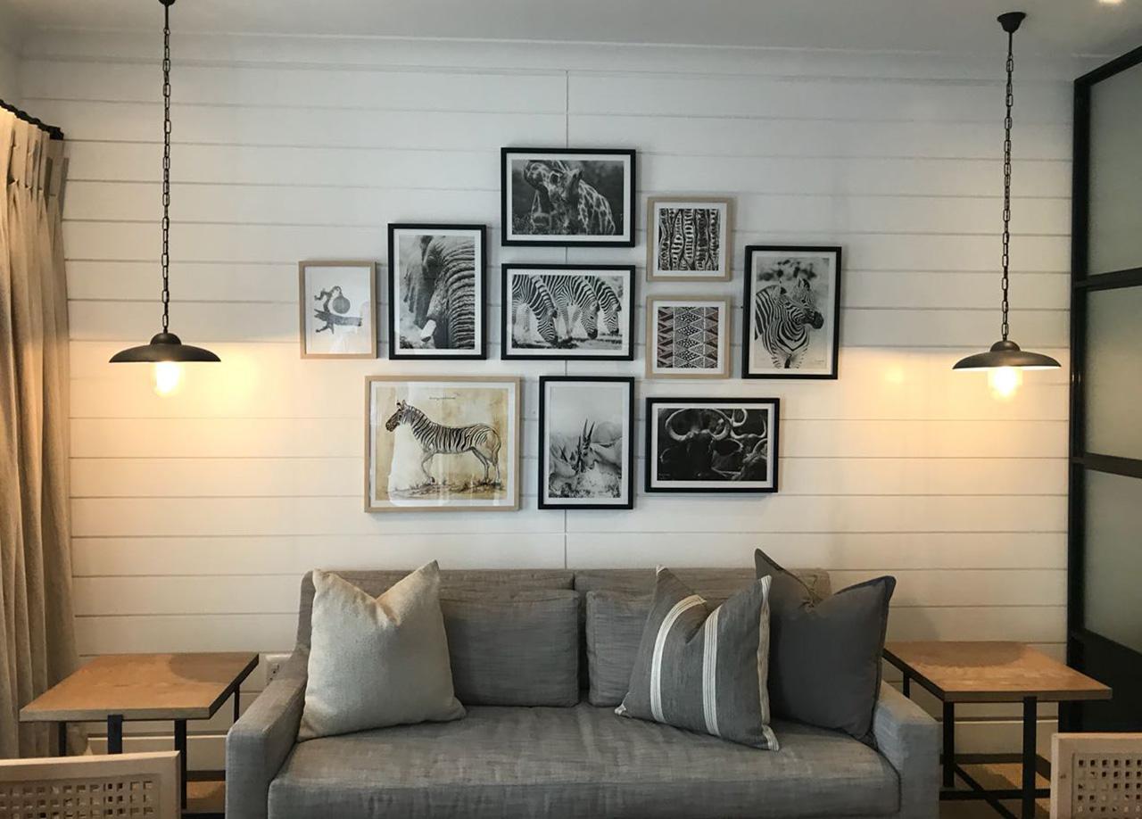 Shamwari-Riverdene guest suite wall collage work in situ copy