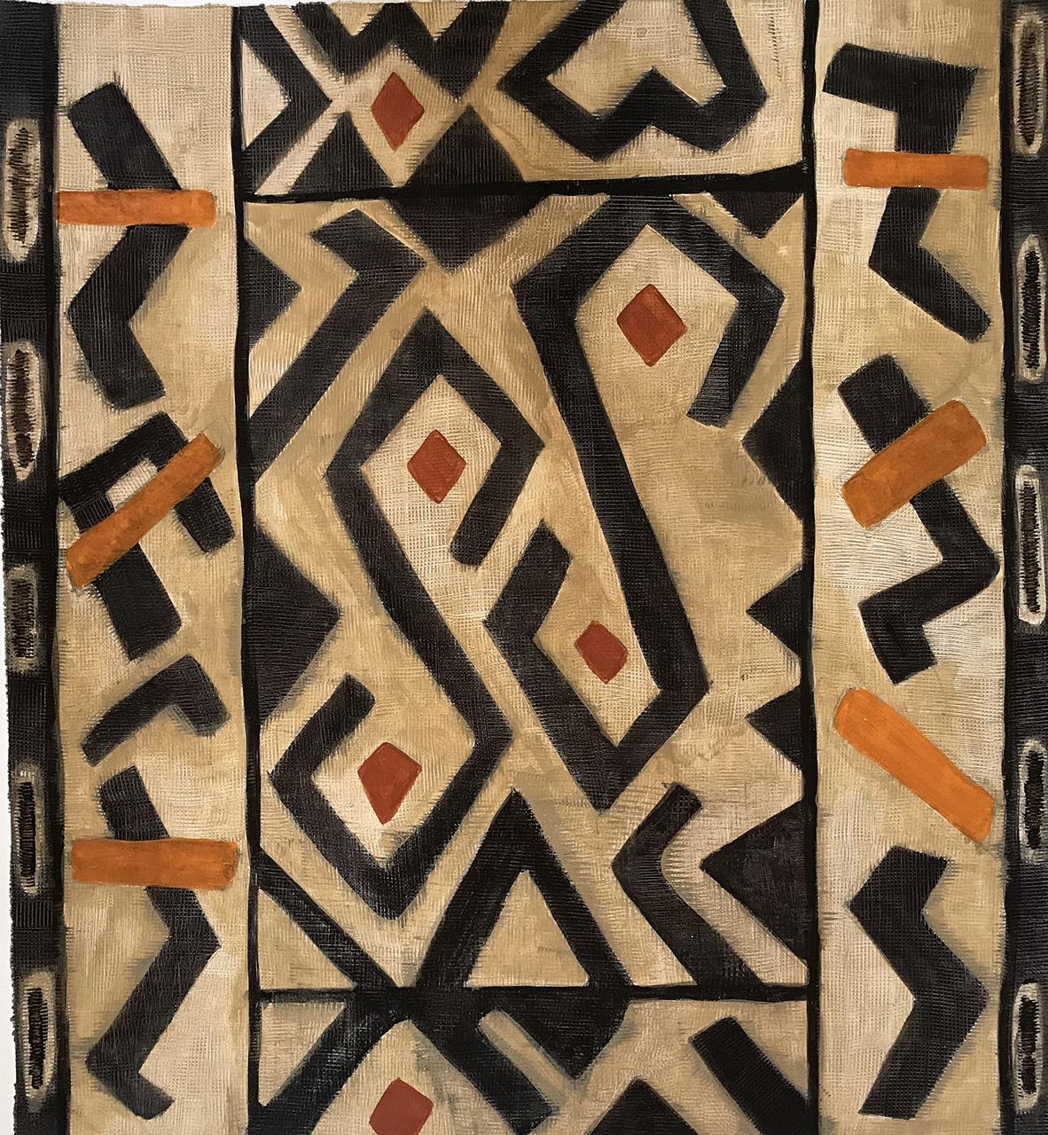 Shamwari-Sindile guest villa -Illustration Kuba cloth for KM2K Design by Louise Hennigs