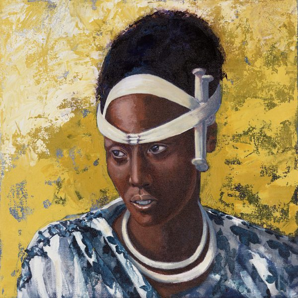 Faces of Africa-'Watutsi Princess' acrylic on canvas 50X50cm by Louise Hennigs