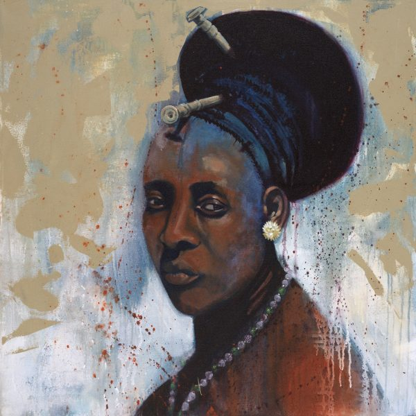 Faces of Africa-'Wife #1 or the Mangbetu' acrylic on canvas 80X80cm by Louise Hennigs