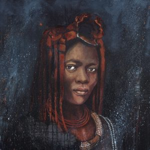 Faces of Africa- 'Woman of the Himba' acrylic on canvas 80X80cm by Louise Hennigs