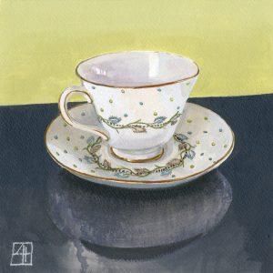 High Tea 'Christa's Pretty Cup' mixed media on paper 21x21cm by Louise Hennigs