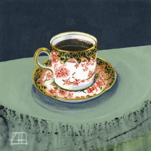 High Tea 'Springthorpe Cup' mixed media on paper 21x21cm by Louise Hennigs