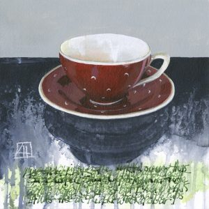 High Tea 'Suzie Cooper Moon & Stars mixed media on paper 21x21cm by Louise Hennigs