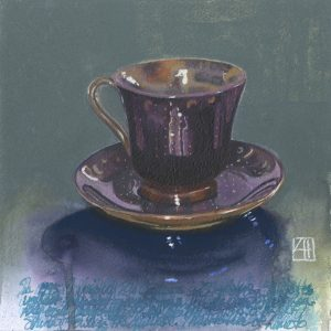 High tea 'Coffee in Rio Gallegos' mixed media on paper 21x21cm by Louise Hennigs