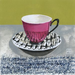 High Tea 'Sylvia Sacks South Pacific' mixed media on paper 21x21cm by Louise Hennigs