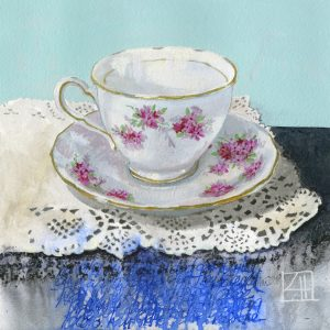 High Tea 'The Wedding Present' mixed media on paper 21x21cm by Louise Hennigs