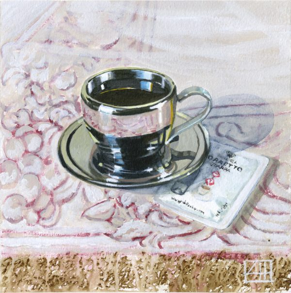 High Tea 'The Dalla Cia Cafe Correto' mixed media on paper 21x21cm by Louise Hennigs